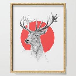 Deer   red Serving Tray