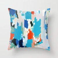 cape cod Throw Pillows featuring Cape Cod by kristinesarleyart