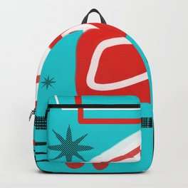 Turquoise Red Black Mid Mod Print Backpack