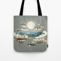 blue Tote Bags featuring Ocean Meets Sky by Terry Fan