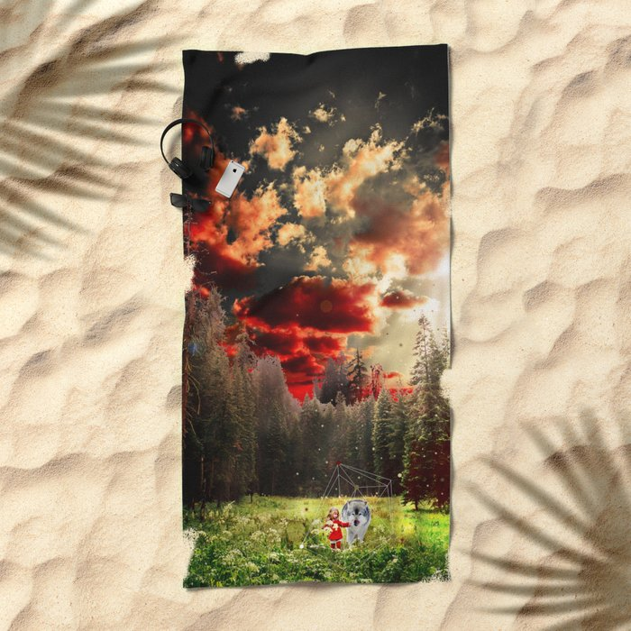 THE REAL STORY OF THE LITTLE RED RIDING HOOD Beach Towel