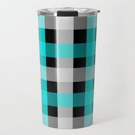blue black checks Travel Mug