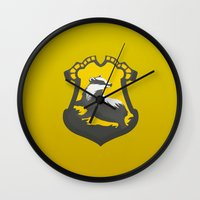 hufflepuff Wall Clocks featuring Hufflepuff by Tom Oxnam