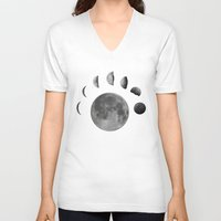 moon phases V-neck T-shirts featuring phases of the moon by Sara Eshak