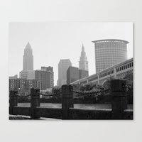 cleveland Canvas Prints featuring Cleveland Skyline  by TiffanyOneillPhotography