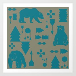 Tribal Bear Blue Art Print