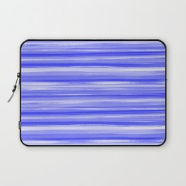 Girly Artsy Ocean Blue Abstract Stripes Laptop Sleeve