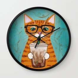 Iced Coffee Cat Wall Clock