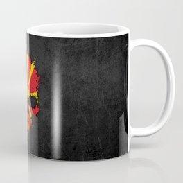 Flag of Macedonia on a Chaotic Splatter Skull Coffee Mug