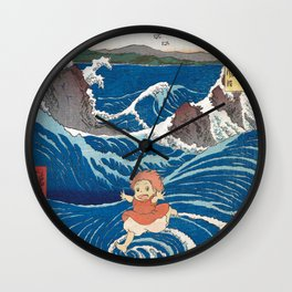 Ponyo and vintage japanese woodblock mashup Wall Clock