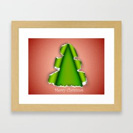 Christmas tree made of torn paper Framed Art Print