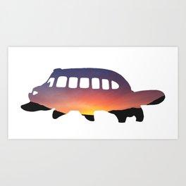 Cat Bus Silhouette Art Print