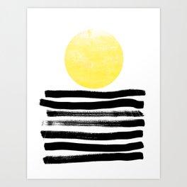 Soleil - sunset sunrise abstract painting art decor dorm college art painting brushstrokes india ink Art Print
