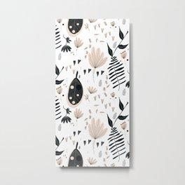 Mod Floral Black  Metal Print