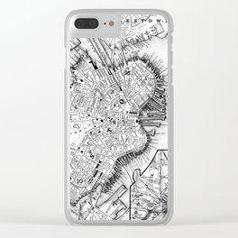 Vintage Map of Downtown Boston (1864) BW Clear iPhone Case