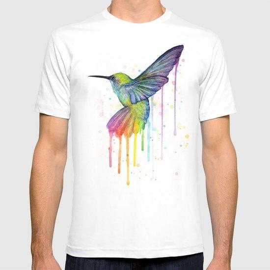 Hummingbird Rainbow Watercolor T-shirt