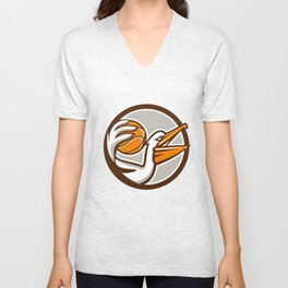 Pelican Dunking Basketball Circle Retro Unisex V-Neck