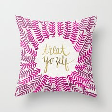 Treat Yo Self – Pink & Gold Throw Pillow