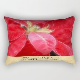 Mottled Red Poinsettia 2 Happy Holidays S2F1 Rectangular Pillow