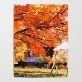Autumn Tree with Cow on Farm (Color) Poster