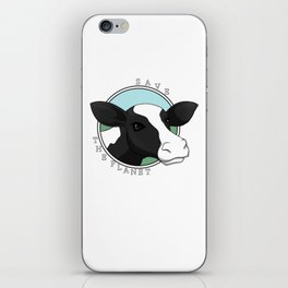 Save the planet cow iPhone Skin