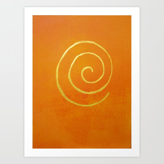 Infinity Bright Orange With Gold Abstract Modern Art Painting by fineartgallery