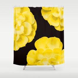 Large Yellow Succulent On Black Background #decor #society6 #buyart Shower Curtain