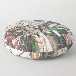 Passing by Cherry Blossoms Floor Pillow