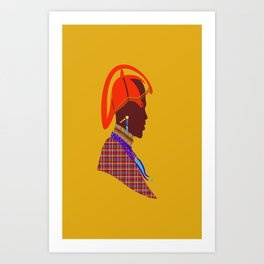 Kenya massai warrior africa graphic design digital art Art Print
