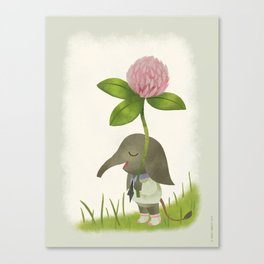 Little Elephant and the Dandyflower Canvas Print