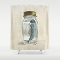 surrealism Shower Curtains featuring Extinction by Terry Fan