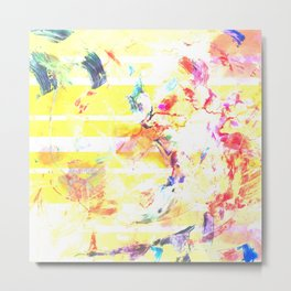 Neon Abstract Paint Swatch Marble Metal Print