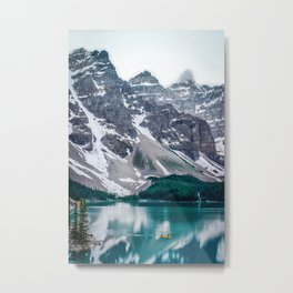 Paddling on Moraine Lake Metal Print