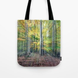 Abstract forest, intentionally blurred by zooming during exposure Tote Bag