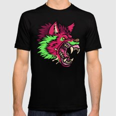 Pink Punk Wolf Black Mens Fitted Tee LARGE
