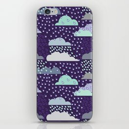 Rainy seamless pattern with clouds. Vector pattern iPhone Skin