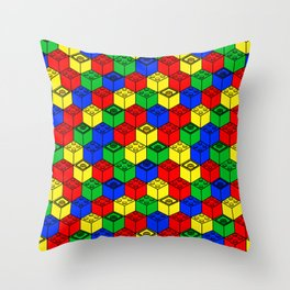 trippy building blocks Throw Pillow