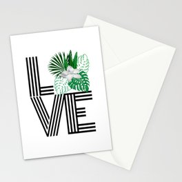 Love word tropical floral Stationery Cards