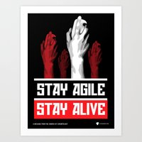 pivot Art Prints featuring Stay Agile Stay Alive - SCRUM Poster by Visage