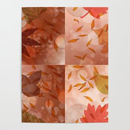 Fall Palette of Leaves repeat Poster