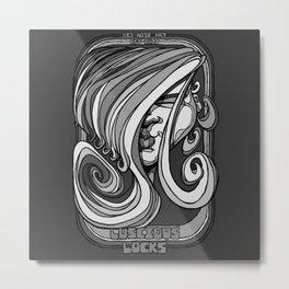 Luscious Locks - Harbour Mist grey Metal Print