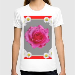 Red Art Shasta Daisy Fuchsia Rose Design T-shirt