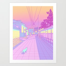 Kyoto Cats Art Print