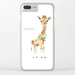 Be YOU tiful Giraffe Baby Clear iPhone Case