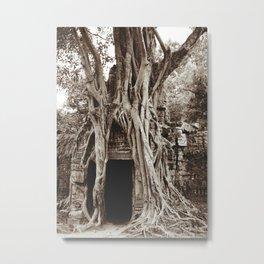 Angkor Temple Ta Prohm Siem Reap Cambodia BW Metal Print