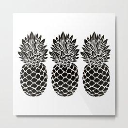 Pineapple Trio | Three Pineapples | Pineapple Silhouettes | Black and White | Metal Print