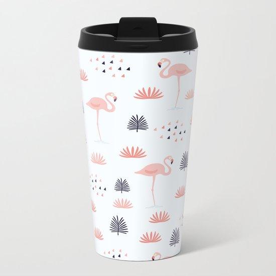 Flamingo Pattern Metal Travel Mug