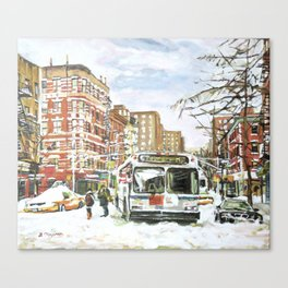 East Village In Snow, New York City Canvas Print