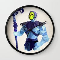 skeletor Wall Clocks featuring Polygon Heroes - Skeletor by PolygonHeroes