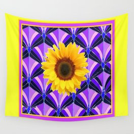 Purple Geometric Sunflower Patterns on Yellow Wall Tapestry
